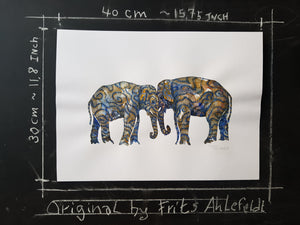 Original Tribal head to head elephants Watercolor