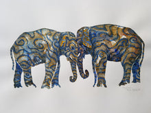 Load image into Gallery viewer, Original Tribal head to head elephants Watercolor