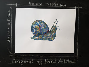 Original Tribal snail-1 Watercolor