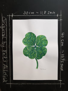 Original Tribal four leaf clover Watercolor
