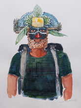 Load image into Gallery viewer, Original Nature hiker gold platae Watercolor