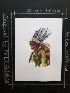 Original Nature hiker feather headwear Watercolor