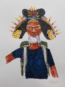 Original Nature hiker black yellow hat Watercolor