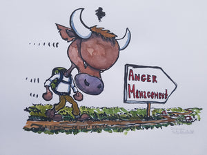Original Bull anger management illustration