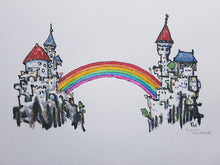 Load image into Gallery viewer, Original Rainbow bridge castle illustration