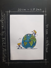 Load image into Gallery viewer, Original pushing globe woman illustration
