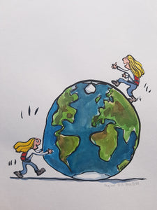 Original pushing globe woman illustration