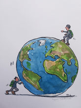 Load image into Gallery viewer, Original pushing globe man illustration