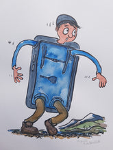 Load image into Gallery viewer, Original Blue phone hiker illustration