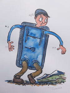 Original Blue phone hiker illustration