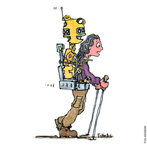 Drawing of a hiker with a robot sitting on her back, looking in all directions. Hiking Illustration by Frits Ahlefeldt