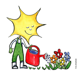 Drawing of a gardener with a smiling sun as face and with a red watering can, water flowers. Illustration by Frits Ahlefeldt