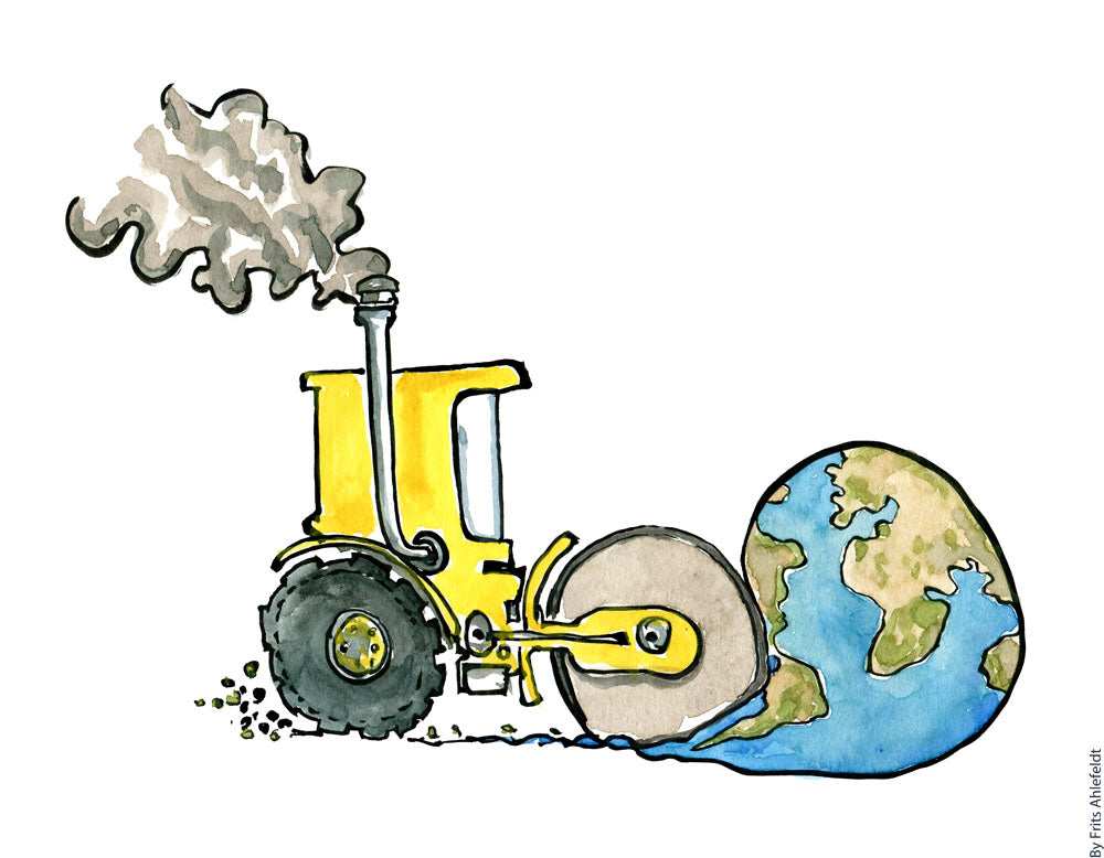 Drawing of a yellow steamroller making planet Earth flat. Environment illustration by Frits Ahlefeldt