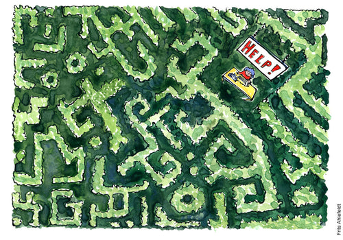 Drawing of a hedgerow green plant maze with a help desk somewhere. Environment Drawing of a gardener standing in landscape between fruits, vegetables, nuts and looking happy. illustration by Frits Ahlefeldt