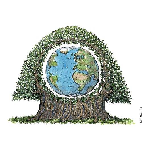 Drawing of the Tree of Life as Planet Earth inside huge tree. Illustration by Frits Ahlefeldt