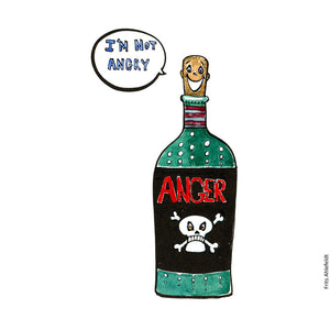 "Drawing of a bottle with a cork looking like a face, ""it says I'm not angry. On the bottle the label says Anger."" Psychology Illustration by Frits Ahlefeldt"