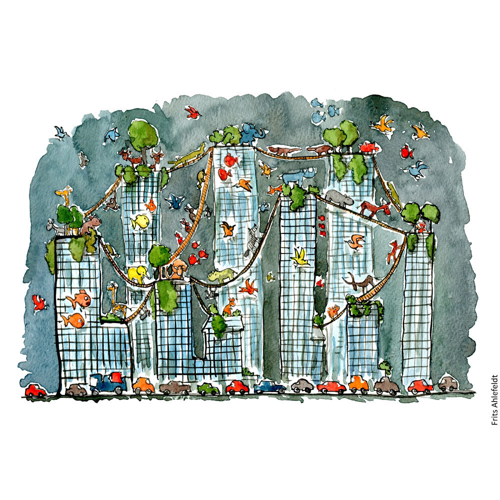 drawing of buildings with green bridges between and animals on them. Illustration by Frits Ahlefeldt