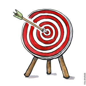 Drawing of an arrow in a target. Strategy Illustration by Frits Ahlefeldt