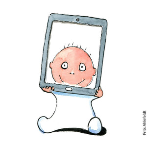 Drawing of a baby holding a tablet ( ipad) looking out through the screen. Technology Illustration by Frits Ahlefeldt
