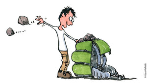 Drawing of a man taking heavy stones out of his backpack. Illustration by Frits Ahlefeldt