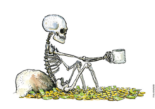 Drawing of a begging skeleton sitting in a lot of money coins Illustration by Frits Ahlefeldt