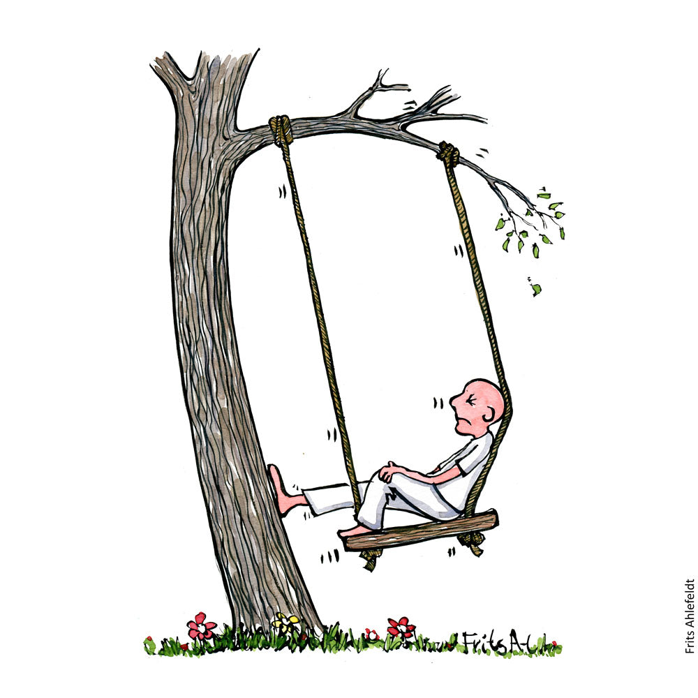 Drawing of a man sitting in a swing that is too close to the tree it is in. He looks unhappy. Illustration by Frits Ahlefeldt