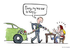 Drawing of a businessman filling a car with biofuel from a table where people are eating. Saying