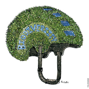 Drawing of a helmet covered with grass and blue water lakes. and the word Biodiversity written on the side. Biodiversity Illustration by Frits Ahlefeldt