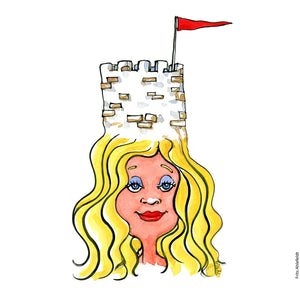 Drawing of a woman wearing a defense castle tower on her head. Illustration by Frits Ahlefeldt