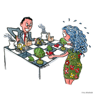 businessman play chess with nature illustration by Frits Ahlefeldt
