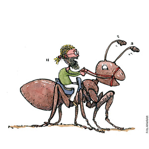 Drawing of a man sitting on top of an ant. ( busy as an ant saying) Illustration by Frits Ahlefeldt