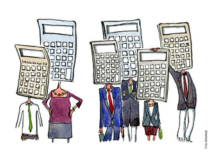 Drawing of a group of people with heads looking like calculators. Illustration by Frits Ahlefeldt