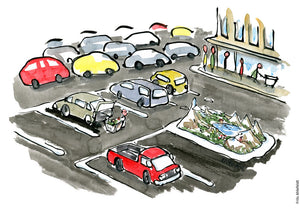 Drawing of a tiny biodiversity park on parking space, surrounded by cars. Environmental Illustration by Frits Ahlefeldt