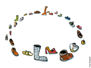 Drawing of shoes in a circle. Illustration by Frits Ahlefeldt