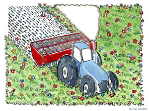 Drawing of a tractor planting words and letters where nature used to be. Environmental illustration by Frits Ahlefeldt