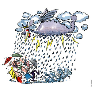 Drawing of a climate dragon like cloud creature and people looking scared in the rain. Climate change Illustration by Frits Ahlefeldt