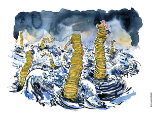 Drawing of people holding onto money stacks and coins under a storm and high water. Climate change Illustration by Frits Ahlefeldt