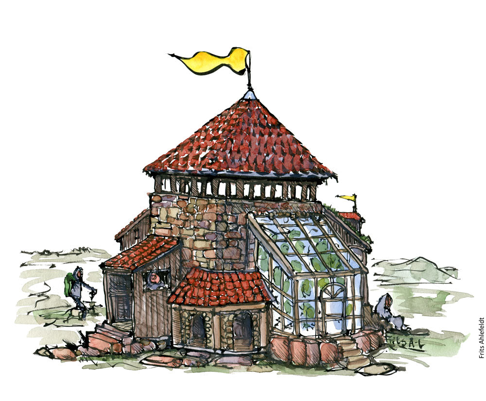 Drawing of a building made with zones and a hiker walking by. Illustration by Frits Ahlefeldt