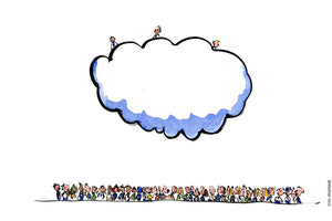 Drawing of three people on top of a cloud and a lot of people on the ground. Cloud management technology Illustration by Frits Ahlefeldt