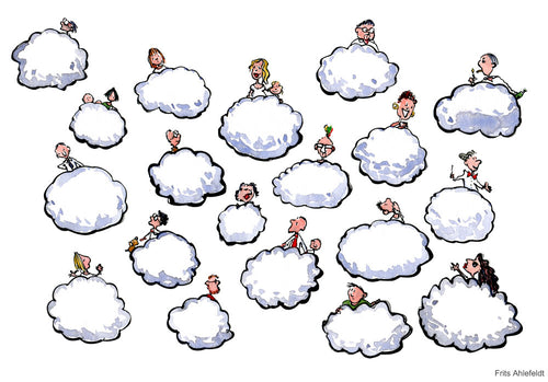 Drawing of people on clouds. Technology Illustration by Frits Ahlefeldt