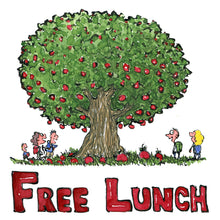 Load image into Gallery viewer, Free lunch tree with fruit and hikers around. illustration by Frits Ahlefeldt