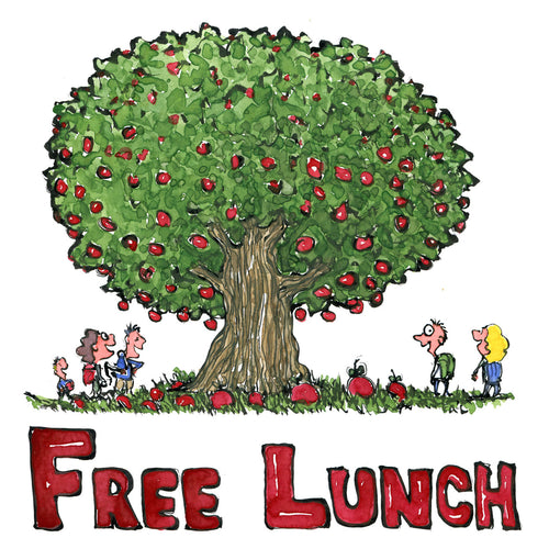 Free lunch tree with fruit and hikers around. illustration by Frits Ahlefeldt