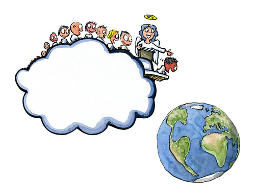 The baby cloud departure to earth illustration by Frits Ahlefeldt