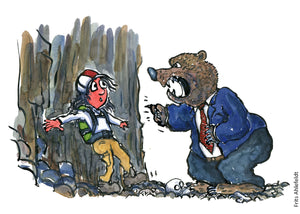 Drawing of a hiker man up a rock wall with a bear in suit in front of him giving him a hard time. Illustration by Frits Ahlefeldt
