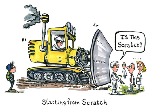 Starting from scratch in front of a yellow bulldozer. cartoon illustration by Frits Ahlefeldt
