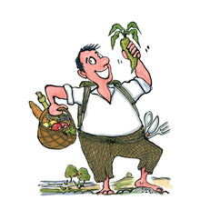 Load image into Gallery viewer, man with vegetables and bare feet in nature looking happy. illustration by Frits Ahlefeldt