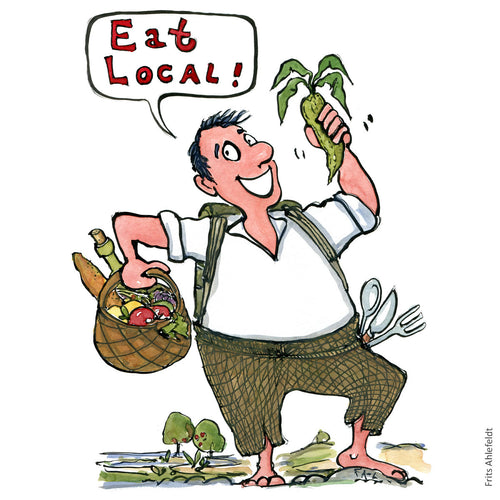 Eat local man with vegetables in basket illustration by Frits Ahlefeldt
