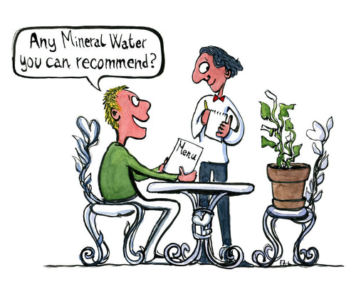 man sitting at restaurant with his plant, asking what mineral water the waiter can recommend. illustration by Frits Ahlefeldt