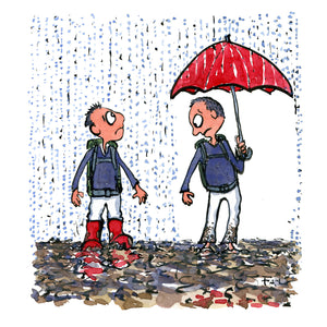 Two men in the rain, one with boots the other with a red umbrella. each looking at what the other got. Illustration by Frits Ahlefeldt