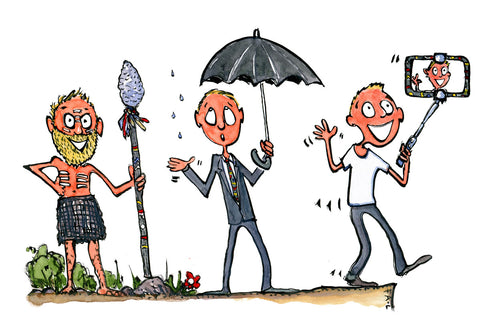 Evolution of modern man from caveman with spear, over businessman with umbrella, to selfieman with smartphone. illustration by Frits Ahlefeldt